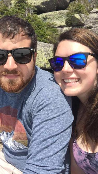 Aren't we cute? Hanging on the ledge at Cannon Mountain
