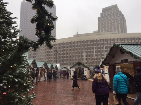 Looking down the square in the Christmas Market at Boston City Hall.